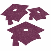 Burgundy Red Mortarboard Graduation Cutouts 72 ct