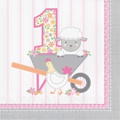 Farmhouse 1st Birthday Happy Birthday Girl Luncheon Napkins 192 ct