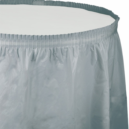 Touch of Color Shimmering Silver Plastic Tableskirt in quantities of 1 / pkg, 6 pkgs / case