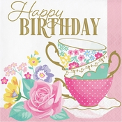 Floral Tea Party Happy Birthday Luncheon Napkins 192 ct
