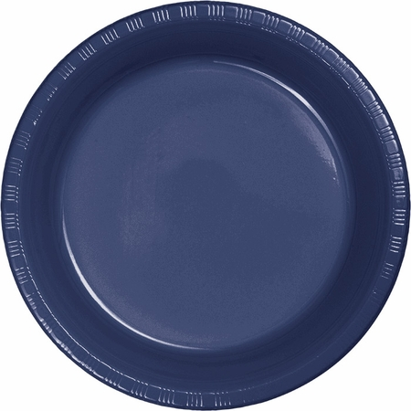 Touch of Color Navy Plastic Dinner Plates in quantities of 20 / pkg, 12 pkgs / case