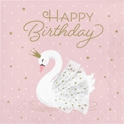 Stylish Swan Happy Birthday Luncheon Napkins 192 ct