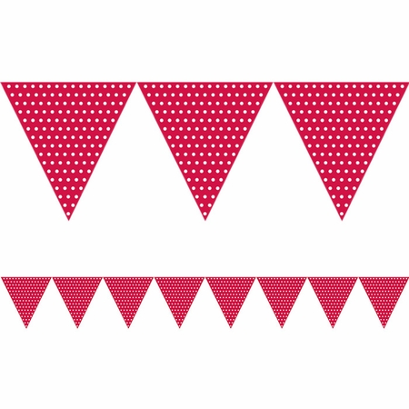 Red Polka Dots Paper Flag Banners sold in quantities of 1 / pkg, 6 pkgs / case