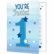 One Little Star Boy Birthday Invitations 48 ct