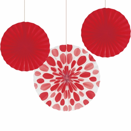 Red Solid & Polka Dots Tissue Fans sold in quantities of 3 / pkg, 6 pkgs / case