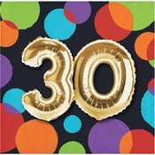 Balloons 30th Birthday Beverage Napkins 192 ct