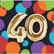 Balloons 40th Birthday Beverage Napkins 192 ct