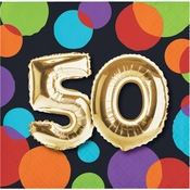 Balloons 50th Birthday Beverage Napkins 192 ct