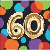 Balloons 60th Birthday Beverage Napkins 192 ct
