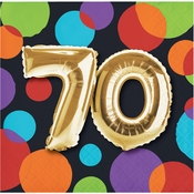 Balloons 70th Birthday Beverage Napkins 192 ct