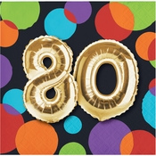 Balloons 80th Birthday Beverage Napkins 192 ct
