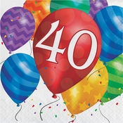 Balloon Blast 40th Birthday Luncheon Napkins 192 ct