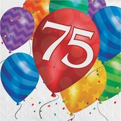 Balloon Blast 75th Birthday Luncheon Napkins 192 ct