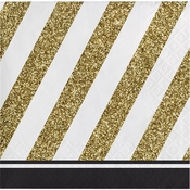 Black and Gold Beverage Napkins 192 ct