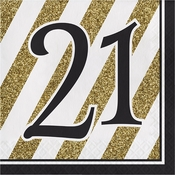 Black and Gold 21st Birthday Luncheon Napkins 192 ct