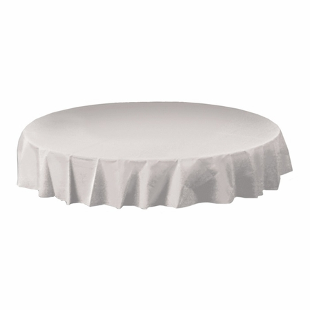 White Hoffmaster Octy-Round Plastic Tablecloths are sold in quantities of 1 / pkg, 12 pkgs / case