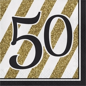 Black and Gold 50th Birthday Luncheon Napkins 192 ct