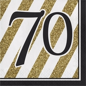 Black and Gold 70th Birthday Luncheon Napkins 192 ct