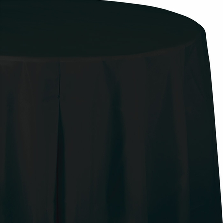 Touch of Color Black Velvet Octy-Round Plastic Tablecloths in quantities of 1 / pkg, 12 pkgs / case