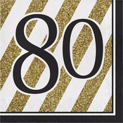 Black and Gold 80th Birthday Luncheon Napkins 192 ct