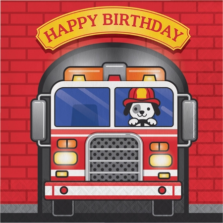 Fire Truck Birthday Luncheon Napkins 192 ct