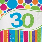 Bright And Bold 30th Birthday Luncheon Napkins 216 ct