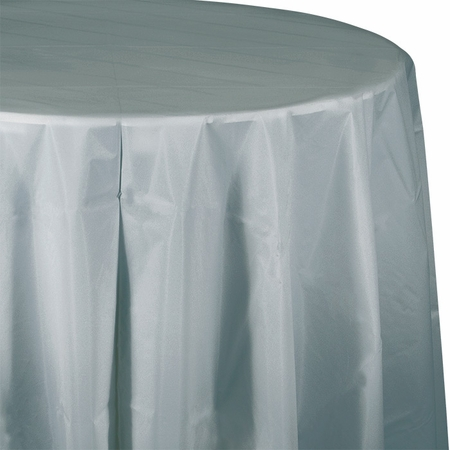 Touch of Color Shimmering Silver Octy-Round Plastic Tablecloths in quantities of 1 / pkg, 12 pkgs / case