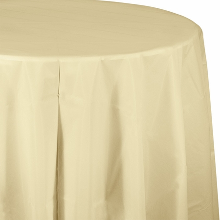 Touch of Color Ivory Octy-Round Plastic Tablecloths in quantities of 1 / pkg, 12 pkgs / case