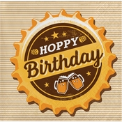 Cheers and Beers Beverage Napkins, Hoppy Birthday 192 ct