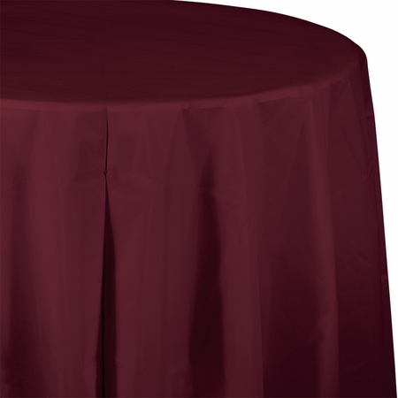 Touch of Color Burgundy Octy-Round Plastic Tablecloths in quantities of 1 / pkg, 12 pkgs / case