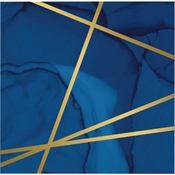 Navy Blue and Gold Foil Beverage Napkins 192 ct