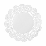 "White Cambridge Lace 6"" Doily sold in quantities of 1000 per case"
