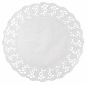 White Kenmore Lace Round Doily sold in quantities of1000 per case