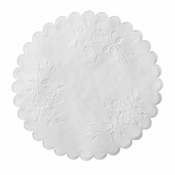"White Rose Linen 5"" Round Doily 1,000 ct sold in quantities of 1000 per case"