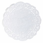 "White French Lace 5"" Doily sold in quantities of 1000 per case"
