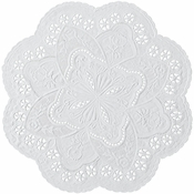 "White French Lace 10"" Doily sold in quantities of 1000 per case"