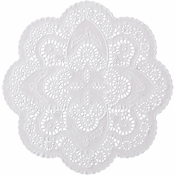 "White French Lace 12"" Doily sold in quantities of 1000 per case"