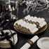 White with black and gold band Imperial Linen-Like Caterwrap with Metallic Cutlery sold in quantities of 50 per pkg / 2 pkgs per case