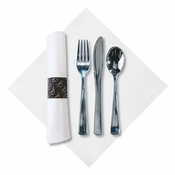 FashnPoint Crescent CaterWrap with Metallic Cutlery in quantities of 50 / pkg, 2 pkgs / case
