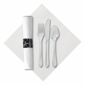 Linen-Like Damask CaterWrap with Clear Cutlery in quantities of 50 / pkg, 2 pkgs / case