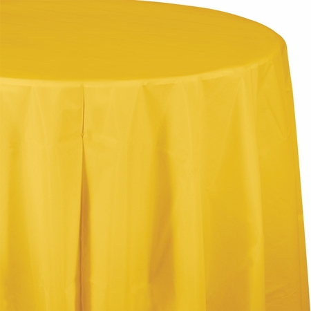 Touch of Color School Bus Yellow Octy-Round Plastic Tablecloths in quantities of 1 / pkg, 12 pkgs / case