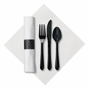 Linen-Like Mystic CaterWrap with Black Cutlery in quantities of 50 / pkg, 4 pkgs / case