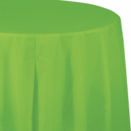 Touch of Color Fresh Lime Octy-Round Plastic Tablecloths 12 ct in quantities of 1 / pkg, 12 pkgs / case