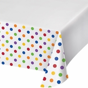 Multicolor Polka Dots and Stripes Plastic Tablecloths 12 ct