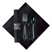 Linen-Like Ornate CaterWrap with Clear Cutlery in quantities of 50 / pkg, 2 pkgs / case