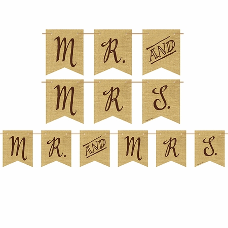 Rustic Wedding Burlap Banners 6 ct