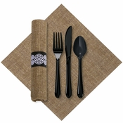 FashnPoint Natural Burlap Printed CaterWrap with Black Cutlery 100 ct