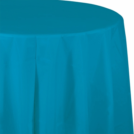 Touch of Color Turquoise Octy-Round Plastic Tablecloths in quantities of 1 / pkg, 12 pkgs / case