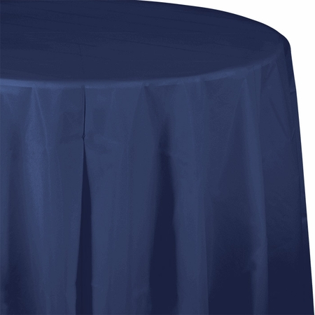 Touch of Color Navy Octy-Round Plastic Tablecloths in quantities of 1 / pkg, 12 pkgs / case