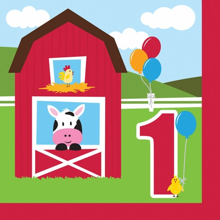 Red and green Farmhouse Fun 1st Birthday Luncheon Napkins are sold in quantities of 18 / pkg, 12 pkg / case